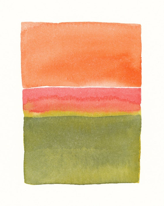 original watercolor painting with moss greens, pink and orange color block shapes