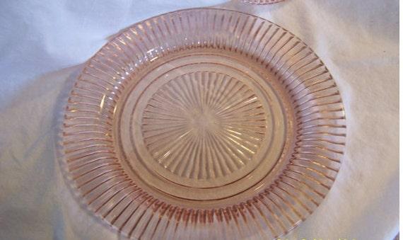 Vintage 1940s Pink Depression Glass Plates Set of 2