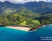 Aerial View of Beautiful North Shore Coast of Kauai in Hawaii