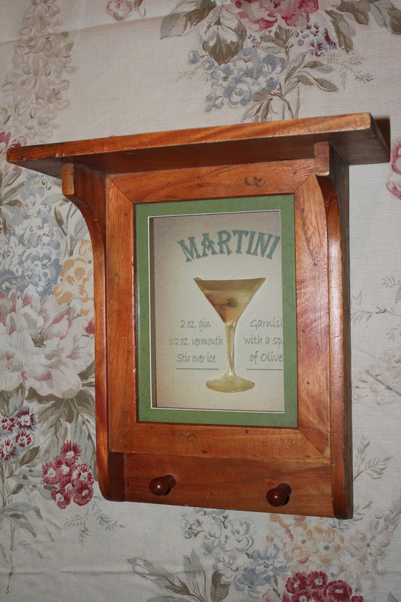 martini bar wood shelf wall hanging free shipping. Black Bedroom Furniture Sets. Home Design Ideas