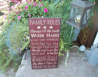 Family Rules Sign your choice of colors 12x24