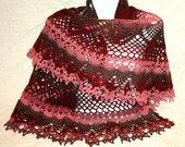 Big burgundy semicircle crocheted shawl