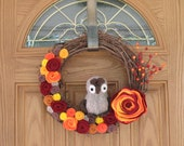 Fall Owl Wreath -- Autumn Wreath--Fall Wreath-- Thanksgiving Wreath-Fall Decoration--14 inch Grapevine and Felt Flower Wreath - rusticowldecor