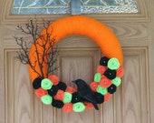 Halloween Night Wreath --Halloween Decor- Halloween Wreath--Halloween Door Decoration--14 inch Wreath- Orange Yarn Felt Flower Wreath