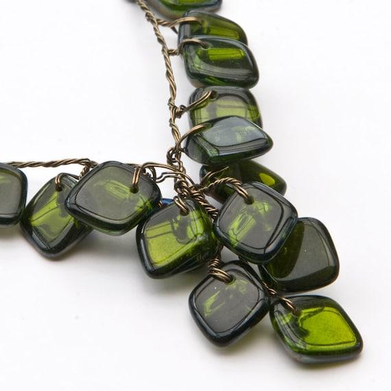 Green Beaded Necklace, Geometric Style Jewelry, Art Deco Jewelry, Fall Jewelry