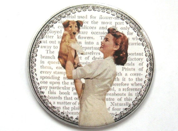 Vintage Pocket Mirror - Lady With Puppy Dog