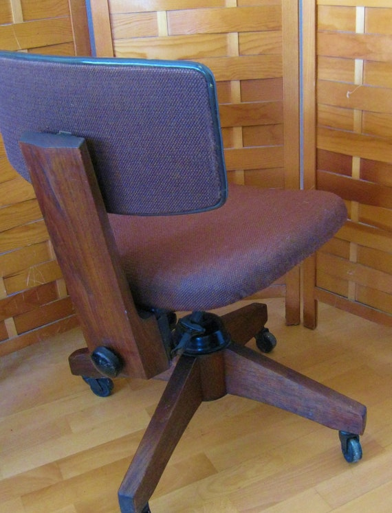 Mid century modern mad men steno chair vintage walnut tweed apholstry iron casters adjustable swivel tilt action