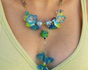 Handmade Lampwork Glass Long Necklace, Festive Flowers Necklace, Mediterranean Turquoise Floral Necklace