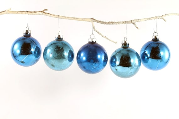 Vintage Shades Of Blue Glass Christmas Tree Ornaments One