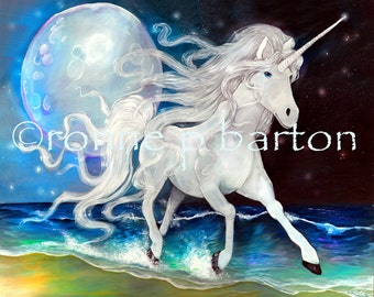 7x5 Moonlight Unicorn ocean fantasy fine art magical creature Print by Ronne P Barton