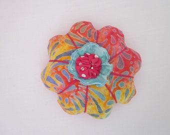 Batik Flower Pincushion