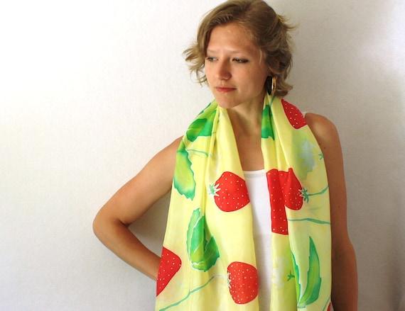 Yellow Silk Scarf - Strawberries Scarf - Hand Painted Silk Scarf - Summer Fashion