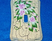 Hand Painted Shabby Chic Light Switch Cover Single Wood Wall Plate Decorative