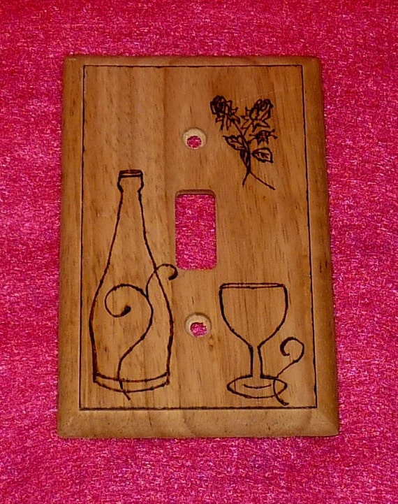 Reserved for Mel- Decorative Single Wood Burned Light Switch Plate Rustic Wall Cover Burned Wine Roses