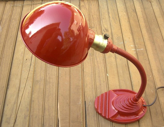 Red gooseneck vintage industrial table lamp