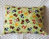 Toddler/Travel Envelope Pillowcase Forest Animals Bear  Fox Raccoon Bunny Skunk Owl Squirrel