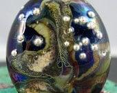 Handmade lampwork focal glass bead pendant lentil shaped SRA organic black ivory and balls of fine silver