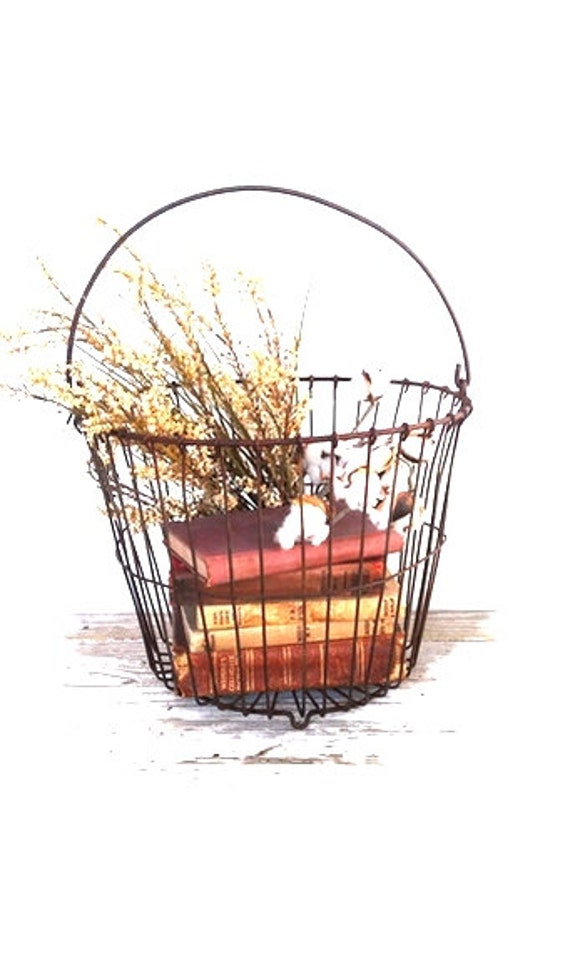 Vintage Rustic Wire Egg Basket French Farmhouse