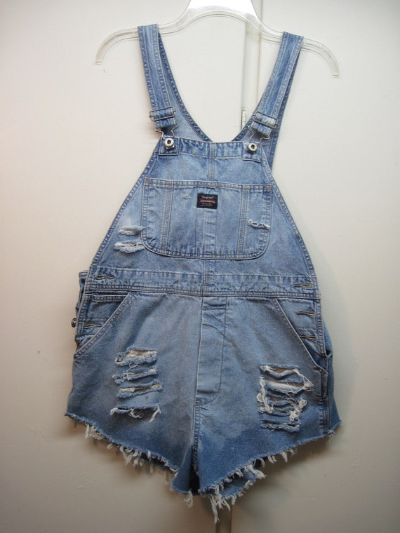 Womens Bib overall cut off shorts size Small bleached out destroyed