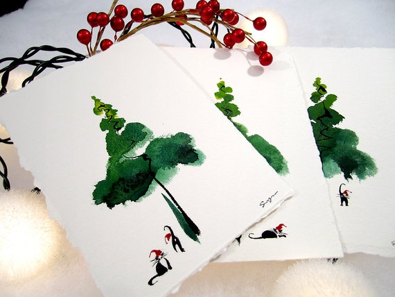 Unavailable listing on etsy for Painted christmas cards