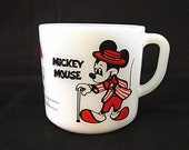 1960s Disney Mickey Mouse Cup Minnie Mouse Milk Glass Mug Anchor Hocking Mug