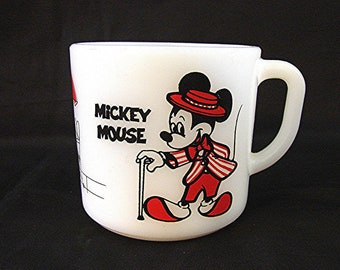 1960s Disney Mickey Mouse Cup Minnie Mouse Milk Glass Mug Anchor Hocking Mug
