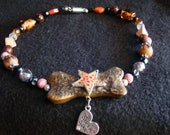 Super Star Dog Collar - OOAK Beaded Collar, Handsculpted Dog Bone with Star - 14 inches Medium