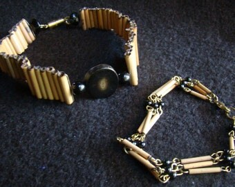 Bracelet and Dog Collar Set OOAK - 10 inch collar - Cane Straw and Black Glass 'Petrified Wood'