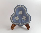 Vintage Wedgwood Blue Jasperware Ashtray Club Shaped from the Wedgewood Bridge Set Collectable Tobacciana - c 1957