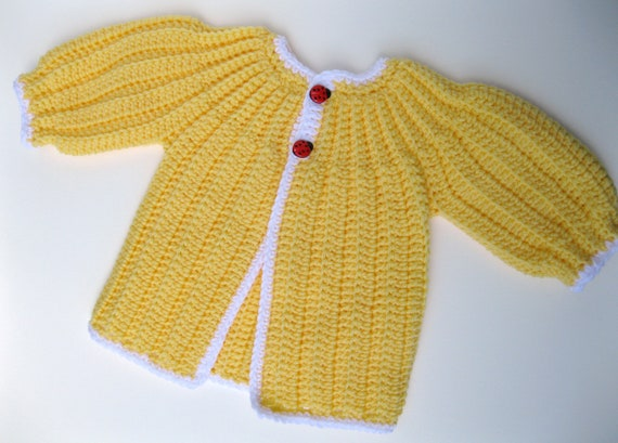 Vintage Inspired Girls Crochet Sweater, 3 to 6 months
