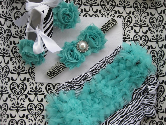 3 piece set. Baby girls aqua zebra print diaper cover bloomers, zebra print crib shoes and headband, Baby set 9-12 months, Great Photo Prop