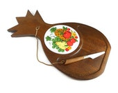 Vintage Cheese Board Wood Pineapple Ceramic Tile Fruit Design Kitchen Decor Serveware