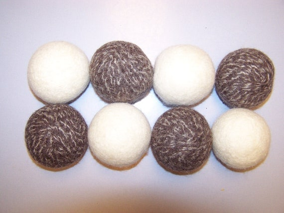 FREE SHIPPING-Organic Set of 8 Dryer Balls 100% All Natural Wool - No More Dryer Sheets Needed-Great Christmas Gift, Great Housewarming Gift
