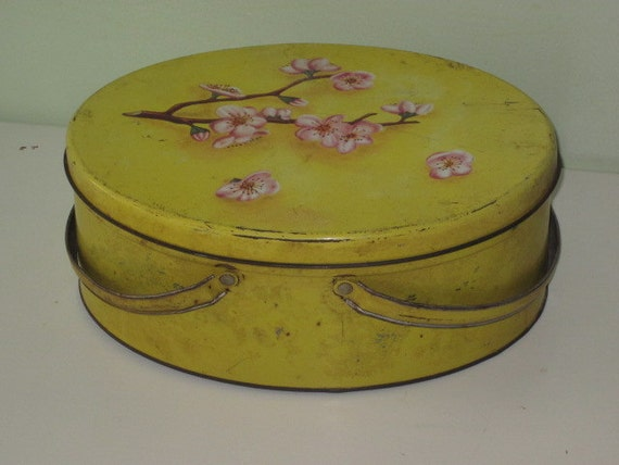 Vintage Yellow Tin Sewing Storage Container Pink Flowers on Lid