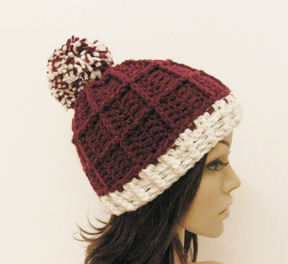 Epic Ribbed Snow Beanie With PomPom- Merlot and Eggshell - Made to order - Mens and womens hat