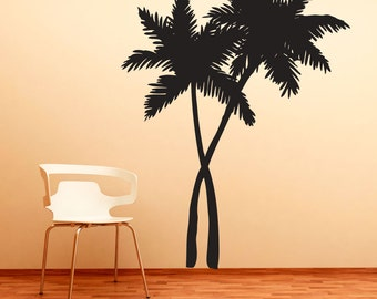 Swaying Palm Trees Vinyl Decal Wall Sticker - Tropical Wall Art, Palm Tree Decal, Hawaiian Decal, Palm Tree Wall Art, Nature Wall Decal
