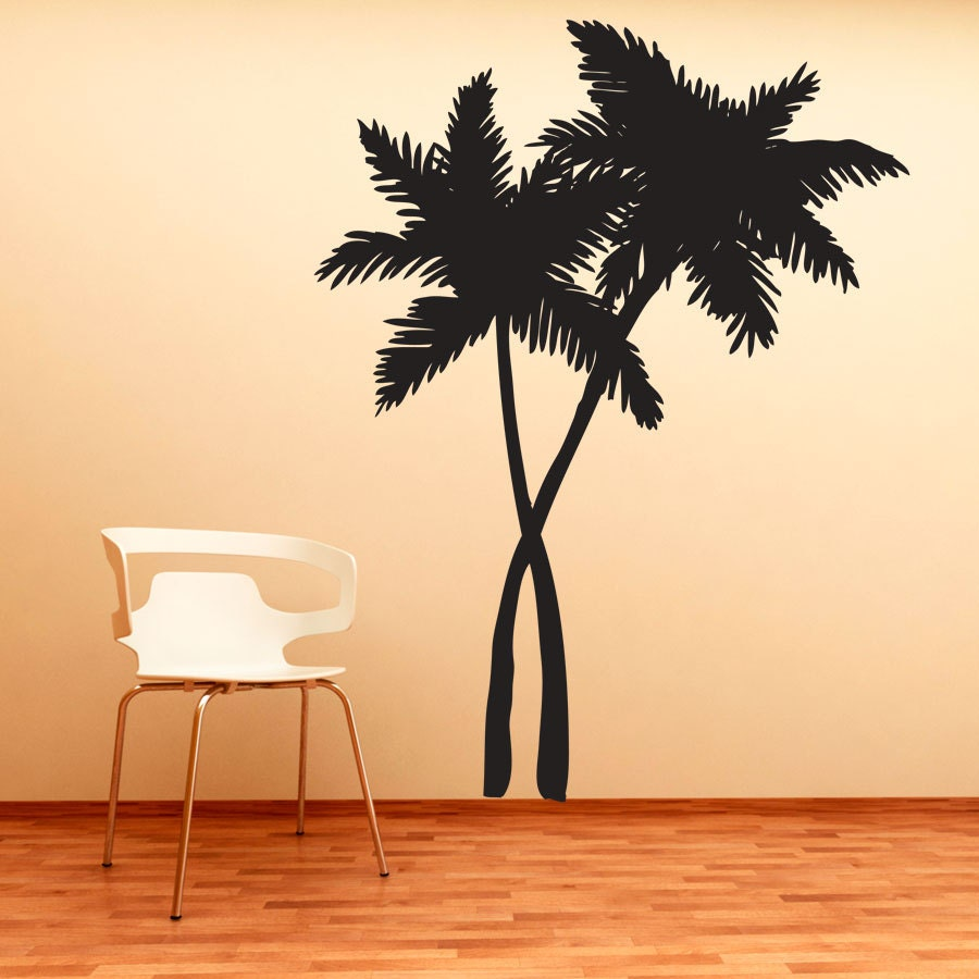 Swaying palm trees vinyl decal wall sticker tropical wall for Beautiful palm tree decal for wall