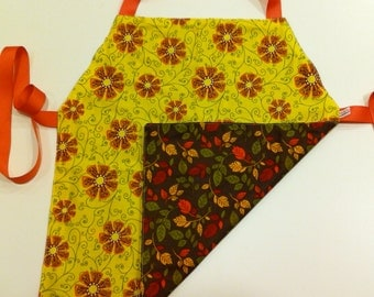 Child's Apron / Smock, reversible autumn colors flowers and leaves