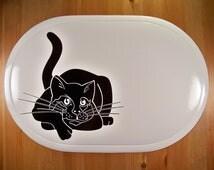 Personalized Placemat: White Vinyl Black Cat Placemat