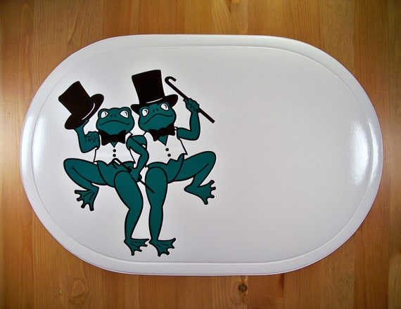 Personalized Placemat White Vinyl Frog Placemat