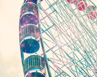 Galaxy Ferris Wheel photograph - Starry Carnival- 8x10 photograph - fantasy photography - carnival photography - nursery art