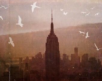 "New York City - 8x10 photograph - ""Birds over Manhattan"" - fine art print - vintage photography - whimsical nursery art  - NYC skyline"