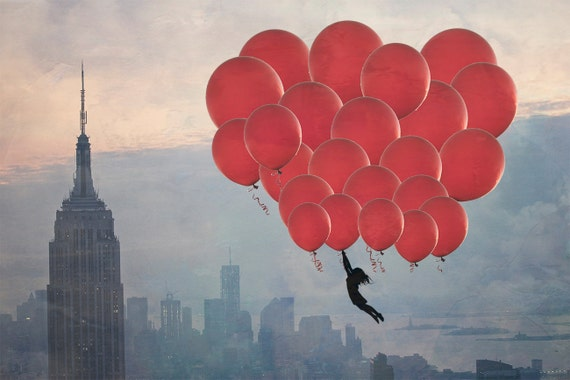 "New York City - 8x10 photograph - ""Floating over the City"" - fine art print - vintage photography - whimsical nursery art  - NYC skyline"