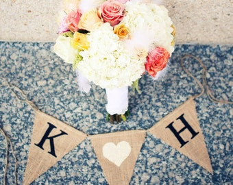 Initial HEART Wedding sign - Save the Date sign  - Burlap Banner - engagement photos - Wedding Garland