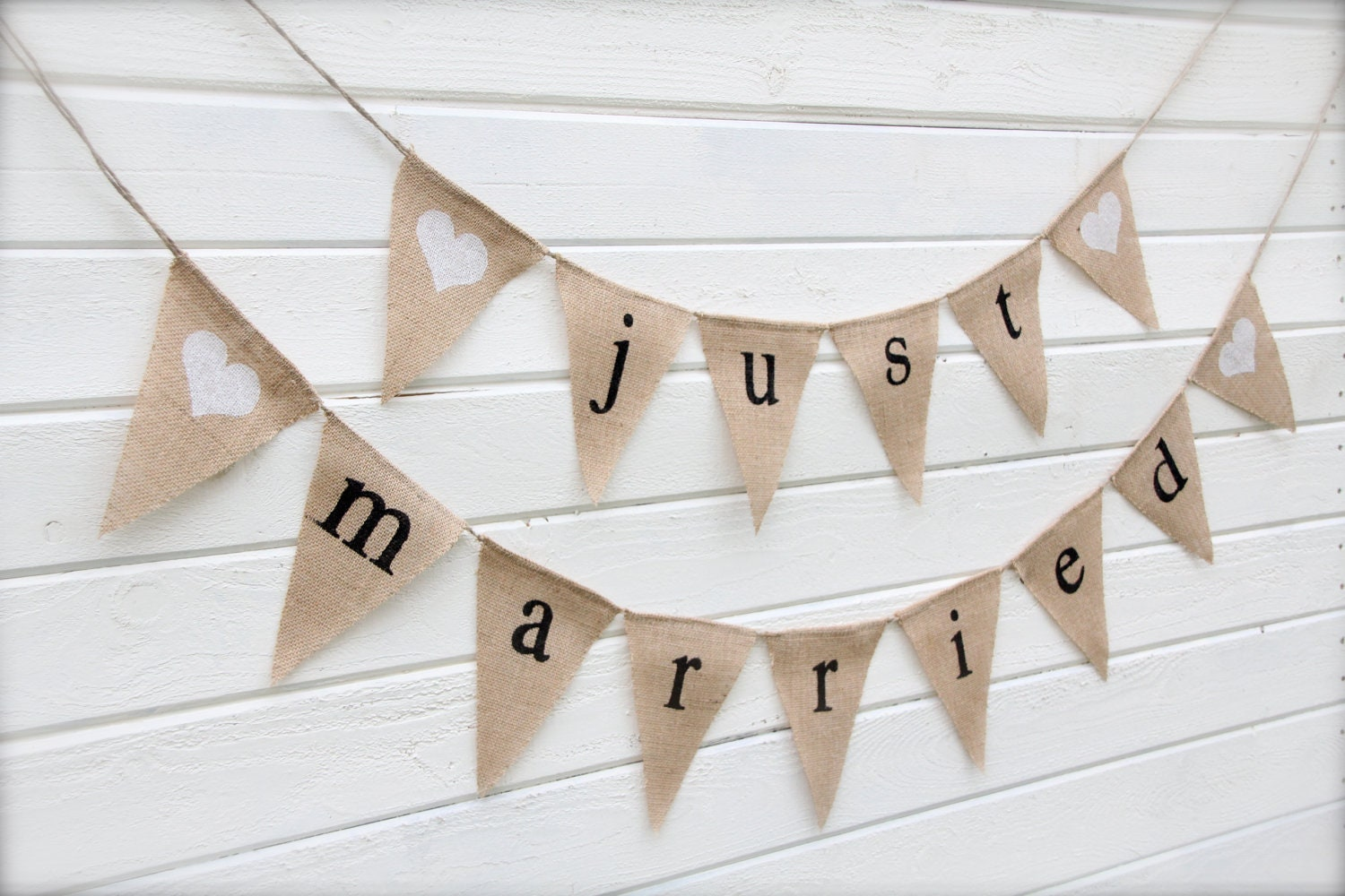 Burlap Banner Just Married Wedding Banner With By