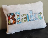Personalized Name Pillow- Applique on Chenille- Baby or Toddler 12 x 16