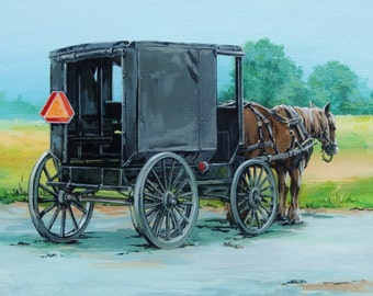 Amish Wagon, Original Painting, Country Wall Decor, Rustic Art