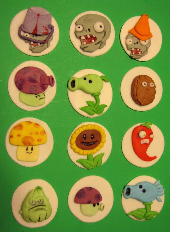 Plants Vs Zombies Cupcake Toppers By Pfisherdesign On Etsy