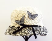 Cream & Black Butterfly Vintage Style Cloche Hat