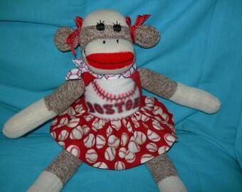 Boston Red Sox Baseball Classic Brown Red Heel Sock Monkey Girl Doll